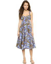 Cynthia Rowley - Green Cutout Floral Dress - Olive Multi - Lyst
