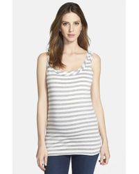 Bun Maternity | Gray Stripe Maternity/nursing Tank Top | Lyst