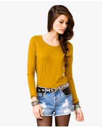 Forever 21 - Yellow Basic Scoop Neck T-shirt - Lyst