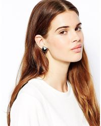 French Connection - Black Geometric Square Stone Stud Earrings - Lyst