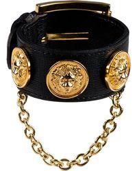 Versus - Black Leather Triple Medallion Bracelet - Lyst