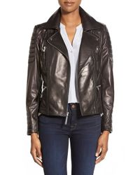 Vince Camuto | Black Leather Moto Jacket | Lyst