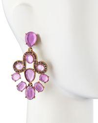 Oscar de la Renta | Purple Resin Faceted Chandelier Clip-On Earrings | Lyst