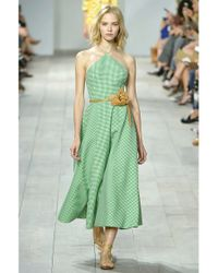 Michael Kors | Green Halter Gingham Gown | Lyst