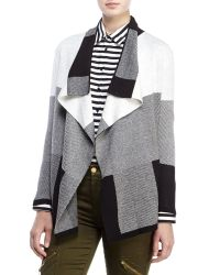 Chaus - Multicolor Patchwork Open Cardigan - Lyst