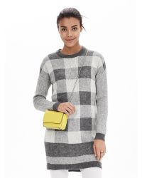 Banana Republic | Gray Buffalo Check Sweater Dress | Lyst