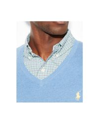 Polo Ralph Lauren - Blue Pima Cotton V-Neck Sweater for Men - Lyst