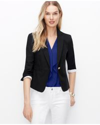 Ann Taylor - Black Textured Jacket - Lyst