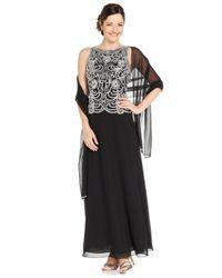 J Kara - Black Sleeveless Beaded Chiffon Gown And Shawl - Lyst