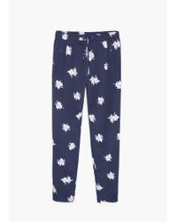 Mango | Blue Floral Print Trousers | Lyst