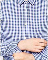 ASOS - White Smart Shirt In Long Sleeve With Medium Gingham Check for Men - Lyst