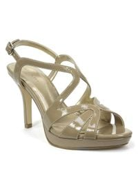 Tahari | Metallic Balthasar Patent Leather Strappy Peep-toe Sandals | Lyst