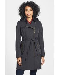 Vince Camuto | Black Water Resistant Trench Coat With Removable Hood | Lyst
