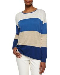 Lafayette 148 New York - Blue Long-sleeve Colorblock Sweater - Lyst