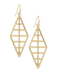 Panacea | Metallic Ribbed Diamond Shape Dangle Earring | Lyst