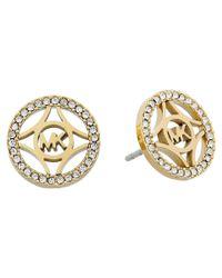 Michael Kors | Metallic Monogram & Pave Stud Earring | Lyst