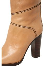Chloé - Natural 105mm Leather Over The Knee Boots - Lyst