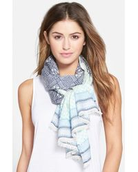 Echo - Blue 'embroidered Tile' Scarf - Lyst