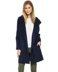 Vince - Blue Hooded Coat Coastal - Lyst