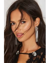 Nasty Gal | Metallic Diamond Trying Fringe Drop Earrings | Lyst