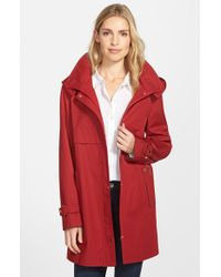 Gallery - Red Snap Front A-line Raincoat With Detachable Hood - Lyst