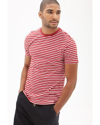 Forever 21 | Red Striped Cotton Tee for Men | Lyst