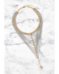 Forever 21 | Metallic Draped Cone-charm Multi-chain Choker | Lyst