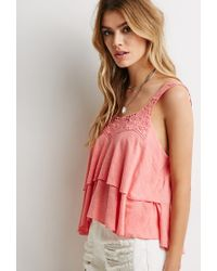 Forever 21 - Pink Crochet-trimmed Tiered Top - Lyst