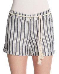 Michael Stars - Natural Striped Tie Shorts - Lyst