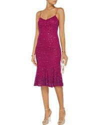 Badgley Mischka | Purple Embellished Tulle Dress | Lyst