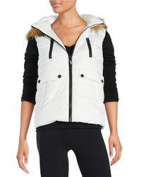 Calvin Klein | White Faux Fur-trimmed Puffer Vest | Lyst