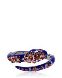 Roberto Cavalli - Blue Snake Bracelet With Swarovski Crystals - Lyst