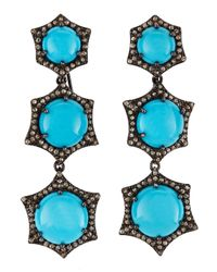Bavna | Blue Turquoise Champagne Diamond Tiered Drop Earrings | Lyst