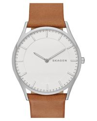 Skagen - Brown 'holst' Leather Strap Watch for Men - Lyst