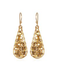 Wendy Mink | Metallic Gold Beaded Teardrop Earrings | Lyst