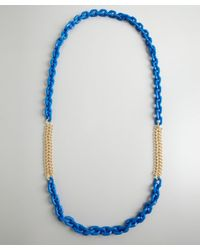 Kenneth Jay Lane - Metallic Blue And Gold Resin Chain Link Long Necklace - Lyst
