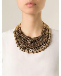 Giorgio Armani | Brown Animal Print Triple Strand Necklace | Lyst