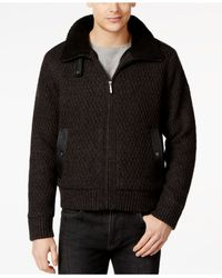 DKNY - Black Aviator Full-zip Lined Sweater With Faux Leather Trim for Men - Lyst