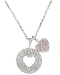 Swarovski | Pink Swaovski Rhodium-plated Double Heart Charm Pendant Necklace | Lyst