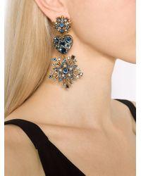Oscar de la Renta | Blue Star Drop Clip-On Earrings | Lyst