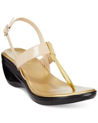 Callisto | Natural Stately Slingback Platform Wedge Thong Sandals | Lyst