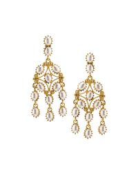 Kenneth Jay Lane - White Golden Pearly Statement Drop Earrings - Lyst