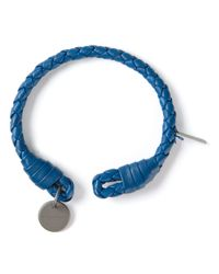 Bottega Veneta - Blue Intrecciato Bracelet for Men - Lyst