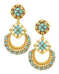 Jose & Maria Barrera | Blue 24k Gold Plate Chandelier Clipon Earrings Seafoam | Lyst