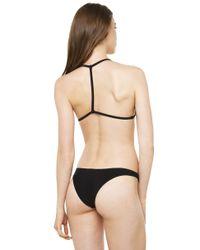 AKIRA - Black Ribbed Out Basic Swimsuit Bikini Bottom - Lyst