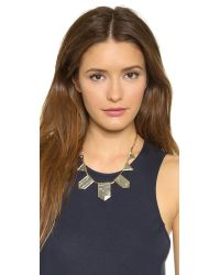 House of Harlow 1960 - Metallic Engraved Classic Station Necklace - Gold/silver - Lyst