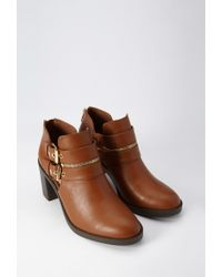 Forever 21 | Brown Buckle Zipped Booties | Lyst