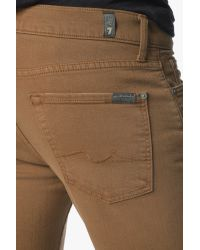 7 For All Mankind Brown Luxe Performance Colored Denim: Slimmy Slim Straight In Cognac for men