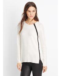 Vince - White Asymmetric Zip Textured Crew Neck Sweater - Lyst