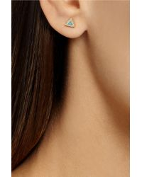 Jennifer Meyer - Blue 18karat Gold Turquoise and Diamond Triangle Earrings - Lyst